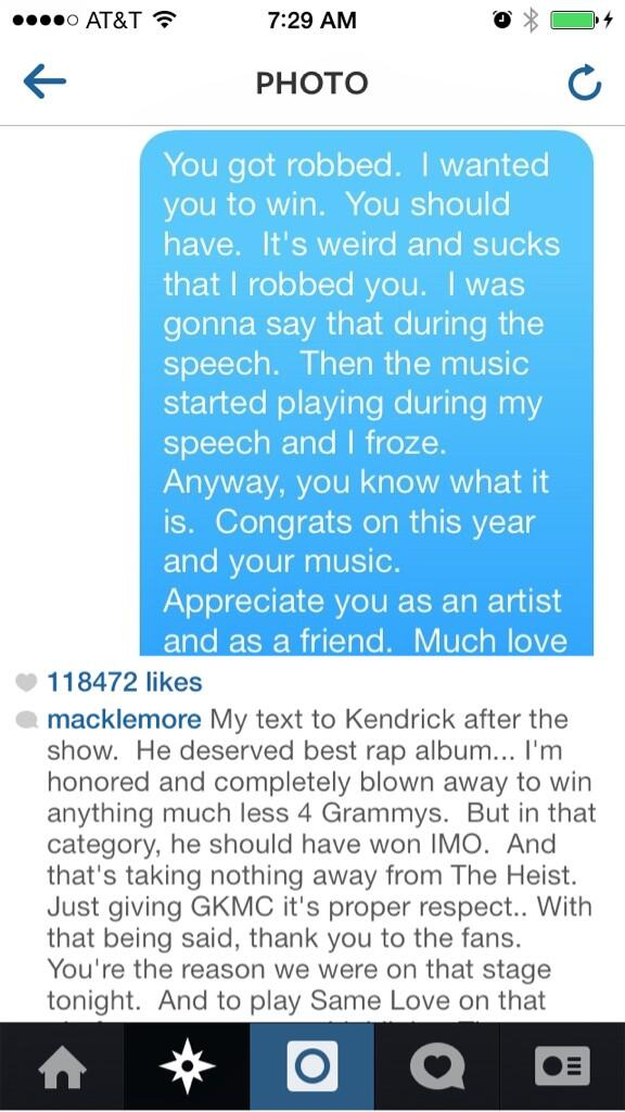 Macklemore's text to Kendrick Lamar #GRAMMMYs http://t.co/AGSMkonHzP