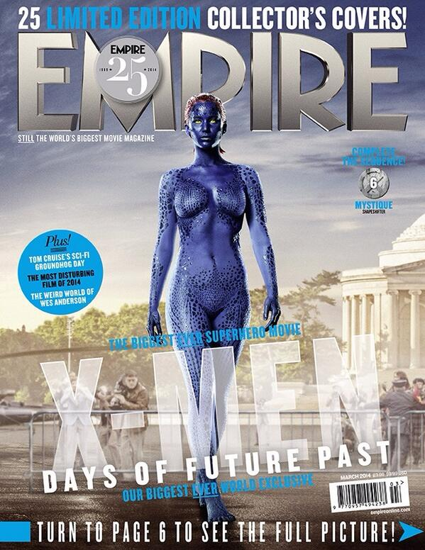 """#Empire25 cover! Cunning, here's Mystique, played by the incredible Jen Lawrence. #XMen http://t.co/QKQ3Rjo5Yd""""@reneyrodriguez"""