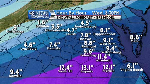 On Wed #RVA could see 9 inches of snow ... or none at all. Check out the conflicting models: http://t.co/1bgmxGMFOR http://t.co/8cA4gz6c3G