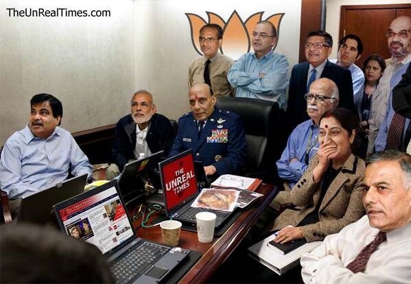 15 mins to go before the big #RahulvsArnab interview, and this is the scene in the BJP war room (Idea: @ajayendar) http://t.co/U6OJ2Nhd7w