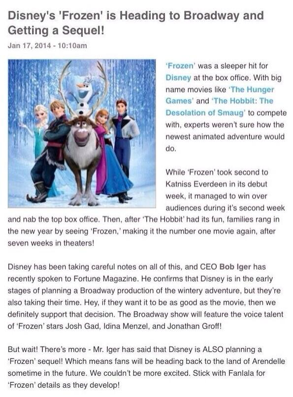 ?@ItsQueenElsa: THERE'S GOING TO BE A FROZEN 2 OMG http://t.co/ktOPTwtmmG? Wut...????