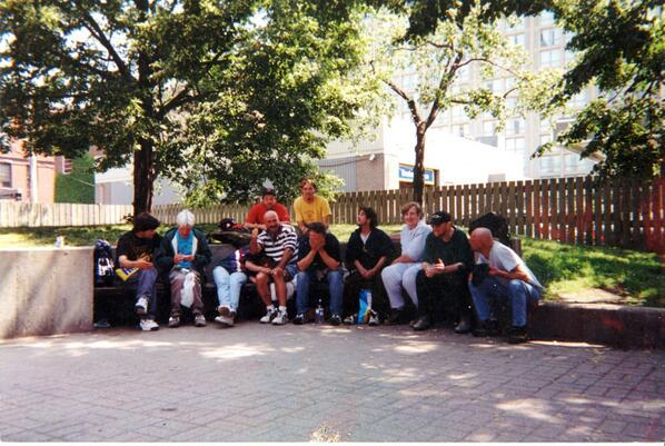 This photo was taken in 2000. All homeless people around 30yo. 1/3 died in 3 years. Only 2 are still alive today http://t.co/vMeA1eDy1m