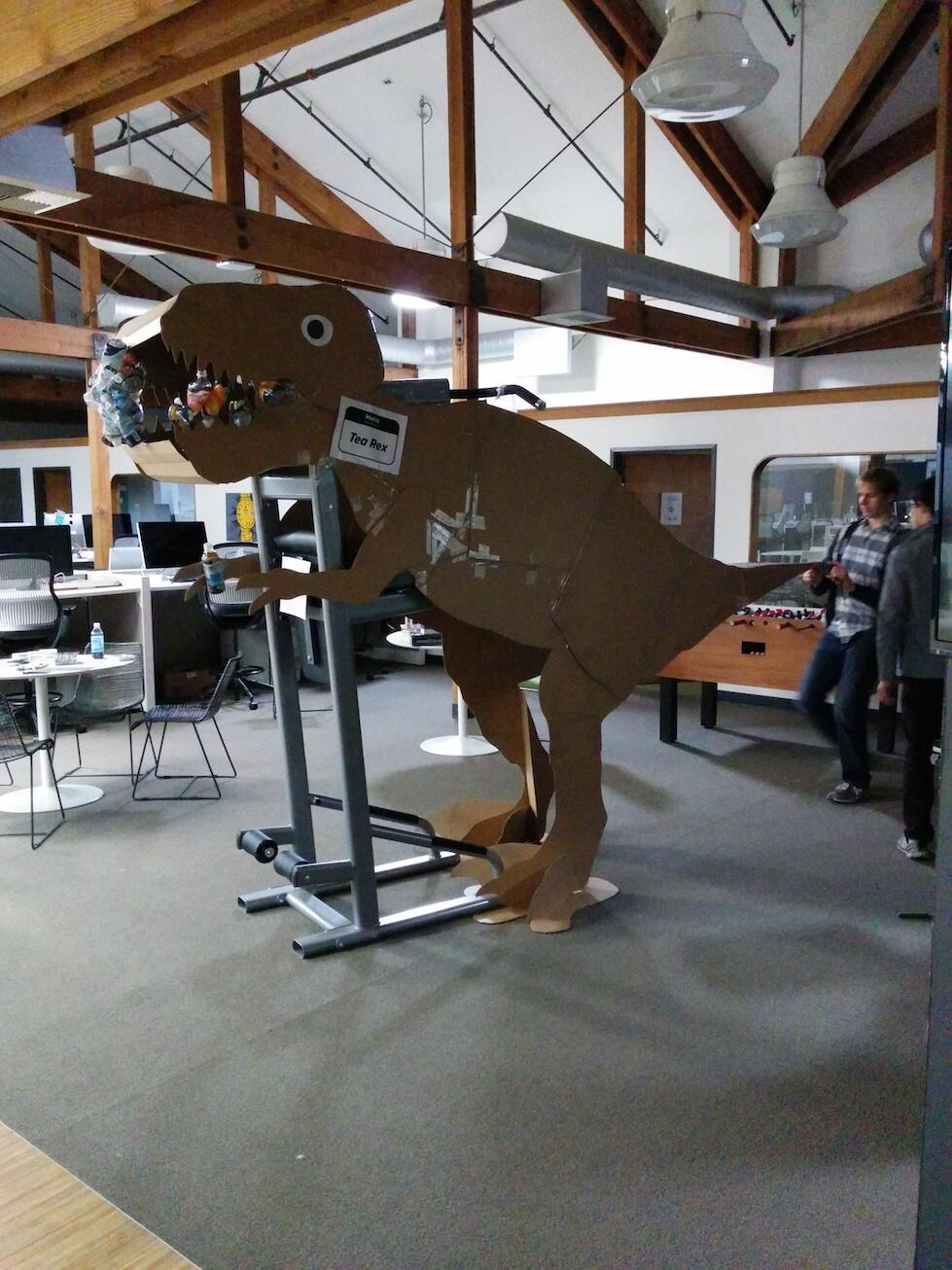 """RT @dmnd_: Is there a better start the week than encountering a giant cardboard """"tea""""-rex inhabiting the office? http://t.co/xK6qEuF7gm"""