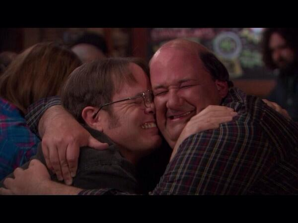Happy Birthday, @rainnwilson. I love u so much it hurts. No... Really. Your glasses are cutting my face. http://t.co/BOnTWnfqLG