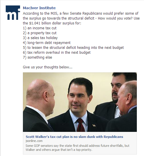 Breaking news: Bradley Foundation front group @MacIverWisc admits that @GovWalker did not fix the deficit:  #wiunion http://t.co/ffqvrM3PQB