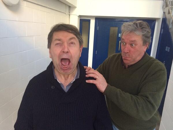 At @bigfinish working with @Grahamseed. Couldn't resist giving Nigel another push! #thearchers http://t.co/lvz0CdjDFP