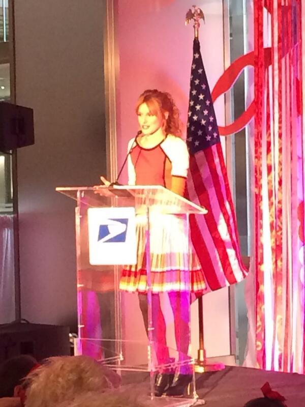 Good stuff @BellaThorne -> @USPS event in NY today #timewarnercenter #lovestamp http://t.co/r34WFbQKp6
