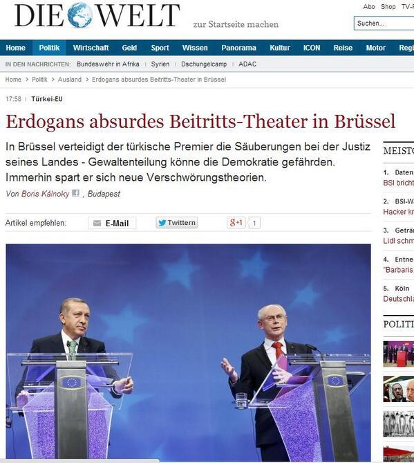 Die Welt: Erdoğan Brüksel'de Saçmaladı... şeklinde manşet atmış. Anlayacağın yememişler. http://t.co/1YlRRtVd81