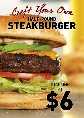 Get creative and build your own $6 Half-Pound Steakburger. Choose a cheese, sauce, and topping for a little extra. http://t.co/CD761EjkoK