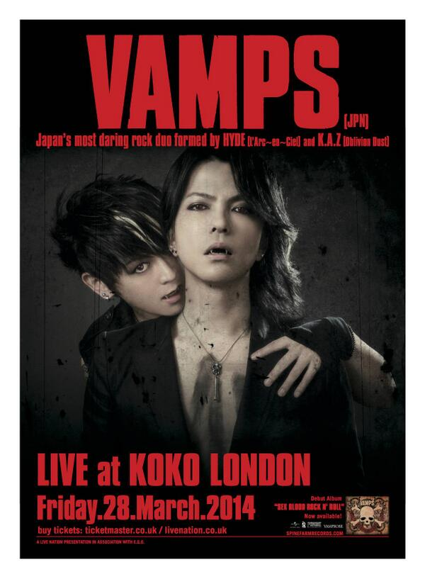 Japanese duo VAMPS return to London for one-off European show on 28 March! http://t.co/ewzkqKfft1  <-- Full story http://t.co/R99iPX6f1a