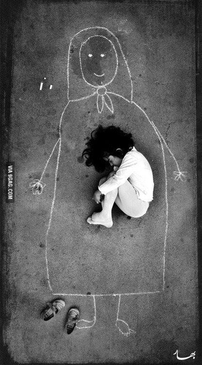 An Iraqi girl in an orphanage missing her mother, so she drew her and fell asleep inside her. #Speechless http://t.co/pUtVqyaHHG