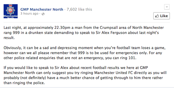 Manchester United fan dials 999 to speak to Alex Ferguson after defeat: http://t.co/TnWtS7pDQf http://t.co/FovFGz4Ea2