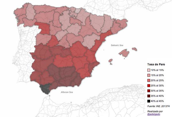Actualizado el mapa de la tasa de paro de España por provincias. Cuarto trimestre 2013 #EPA http://t.co/XdcQnrOlTf http://t.co/F89KtwUp2z