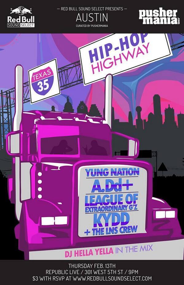 THUR | 2/13 | Republic Live | @RBSoundSelect & @Pushermania present @YungNation @ADdHoe @LOEGz @KyddJones http://t.co/TjcyGDx6G5