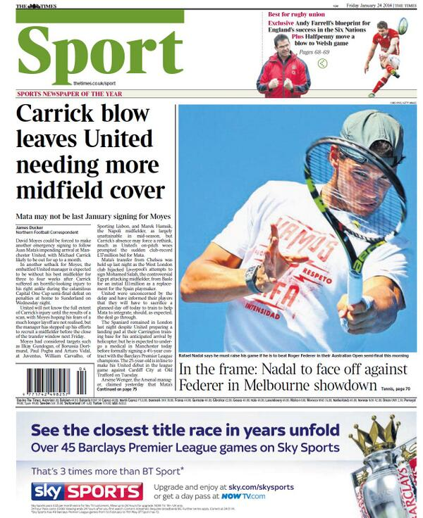 BesrlPXCMAAseCu Key Manchester United midfielder Michael Carrick ruled out for a month [Times]