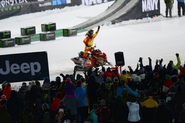 Victory lap with his brother looking down.  Colten Moore (@Colt45Moore) wins #XGames Gold in Snowmobile Freestyle! http://t.co/B19rHkZbxM