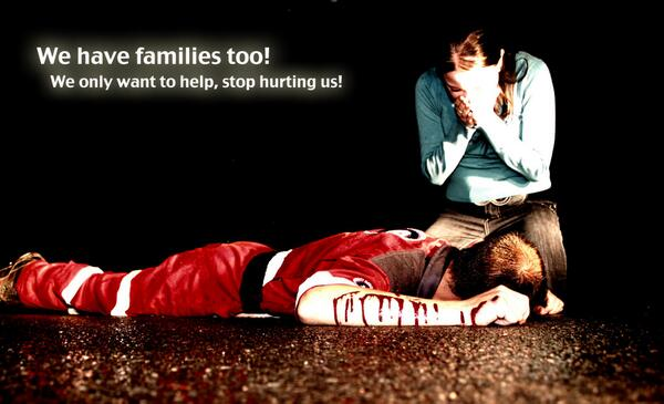 We have families too! We only want to help, stop hurting us! #ParamedicAttack http://t.co/Y3A1RtwbmT