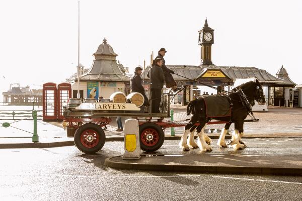 clippity-clop! Fab pic by @eyejewels  of the @Harveys1790 dray delivering beer to the thirsty people of #Brighton http://t.co/ASJah4mq6Y