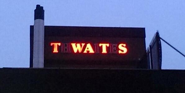 Fabulous. @psbook Brewery workers facing sack alter Thwaites sign to read 'Twats' http://t.co/RaqYun2rzn http://t.co/1iGNlfML24