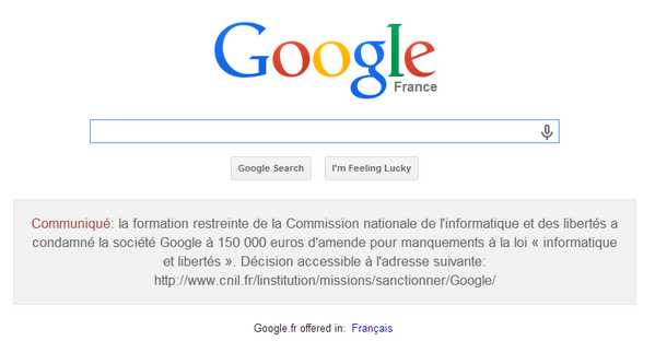 Google sentenced to publish why they have to pay a €150,000 fine on their French website [IMAGE] That really hurts. http://t.co/7VC5RRs6Lg