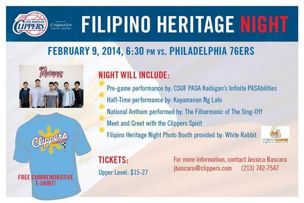 Get ur @Clippers tix 4 SUNDAY #FilipinoHeritageNight w/ @TheFilharmonic singing the National Anthem at @STAPLESCente… http://t.co/zMotoetCBx