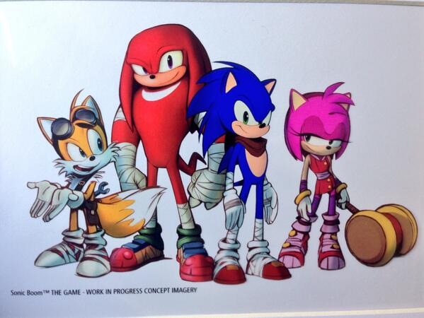 Here's a peak at the whole new 2014 Sonic team. Sonic the hedgehog, Knuckles, Tails, and Amy #sonicboom http://t.co/Go0i7LcfH4