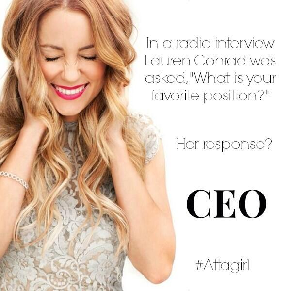 How did @LaurenConrad describe her favorite position? The answer is: #likeaboss That's how. http://t.co/8LHPsSz2yf