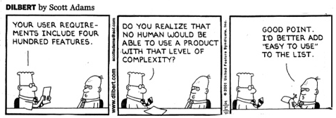 Dilbert on software design and simplicity. Apt for @SAP today. http://t.co/kfAeL57HcD