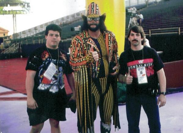 Here is my #tbt photo me, @WWETimekeeper and Randy Savage WM 9 http://t.co/9au12bMuB0