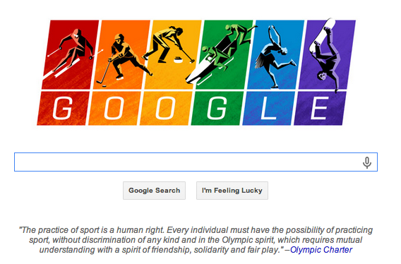 This is the best @Google Doodle I've ever seen. Thank you standing up for human rights. #Olympics2014 http://t.co/l6EFyIcq3M