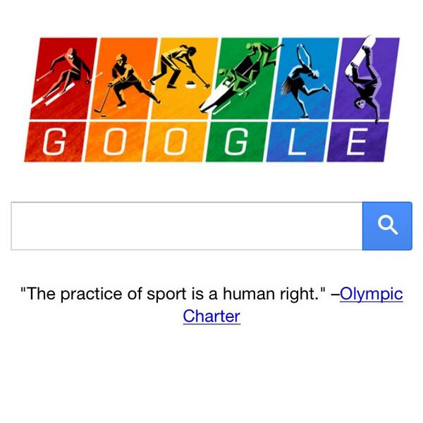"Well done @google  ""the practice of sport is a human right"" -- Olympic Charter http://t.co/mrFToqWfr9"
