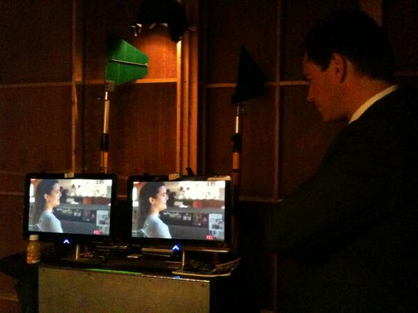 Last shot... @M_Weatherly directing Cote de Pablo on #NCIS before he had to run in and act with her... #TIVA http://t.co/AnsrLUp7VI