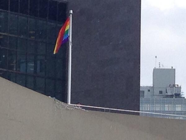 A Rainbow coloured flag is raised at #TOCityHall to support the #LGBTQ community at #Sochi @CityNews http://t.co/YMZjWpEJzH