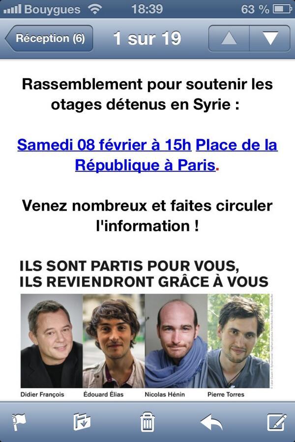 Ne les oublions pas. Merci de RT #otagesenSyrie http://t.co/dA9Njcfl0s