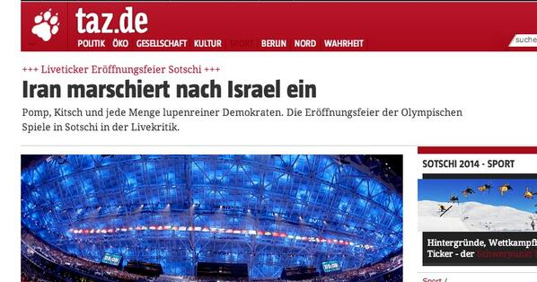 """Kurzer Schock beim Liveticker #Sochi2014 #Sotschi2014 """"Israel maschiert nach Israel ein"""" http://t.co/KxyiU4JL6a"""