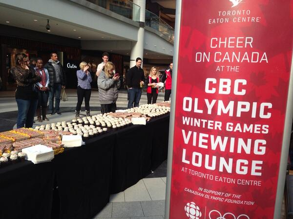 Charlsie Agro (@CBCharlsie): Come on down to @TOeatoncentre and celebrate with @CBCOlympics ! It's a watch party! #sl http://t.co/ZzLuTXOvPR