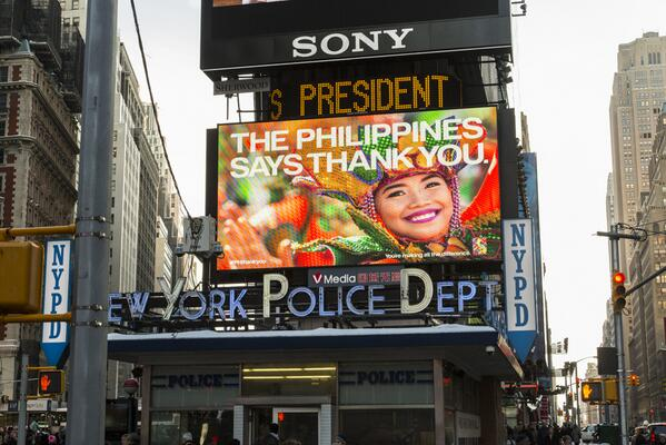 Live from Times Square, NYC, The Philippines says THANK YOU #PHthankyou http://t.co/y5hXob280Z