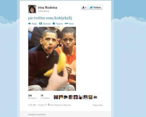 The Russian skater who just lit the Olympic flame tweeted this doctored, racist photo of the Obamas last September. http://t.co/kQhIDqXwki
