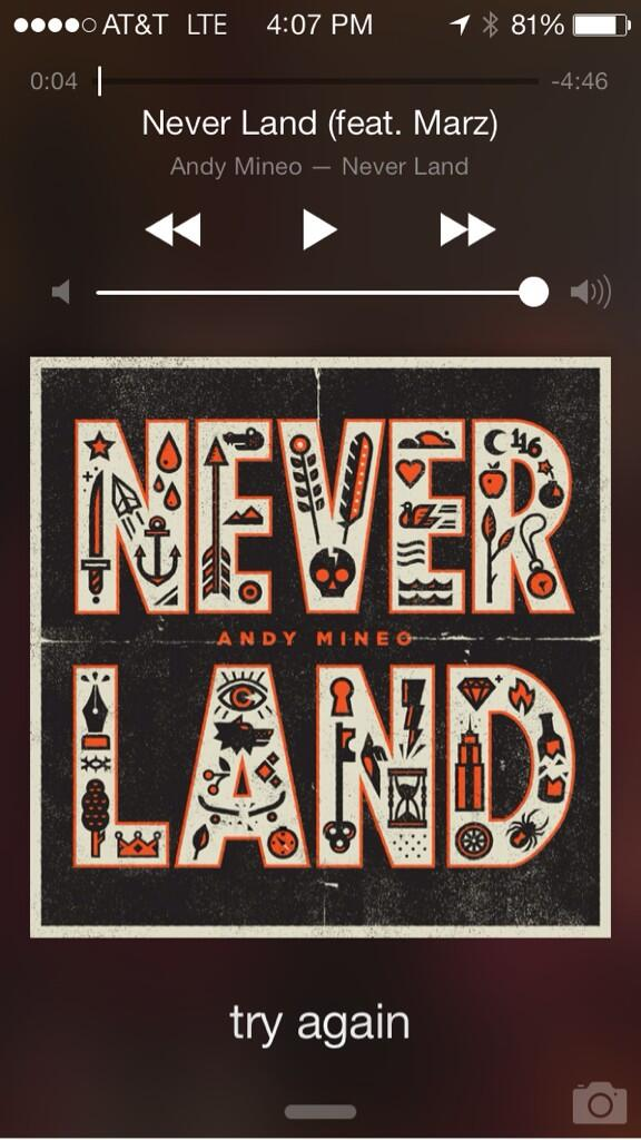 Today's pre game music is Never Land by @AndyMineo . Get it on iTunes! You'll love it! http://t.co/47k4QW83O4