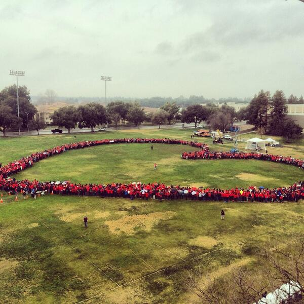 A look at our final heart formation. Thanks for supporting #ucdavisred day! #goags! #WearRedDay http://t.co/OoMuwonpo1