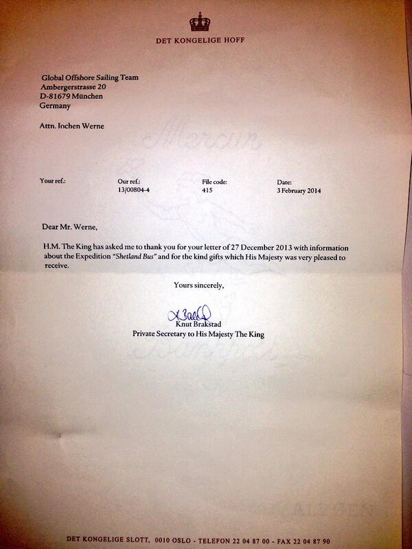 Expedition SHETLAND BUS: Letter from #KING HARALD V to the GLOBAL OFFSHORE SAILING TEAM on 3 Feb. 2014 http://t.co/M13NC8cabG