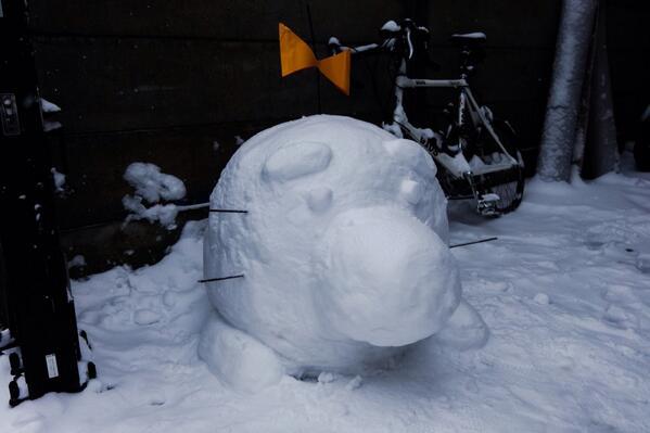 雪でどせいさんを作ったよ http://t.co/poKRyhALj1
