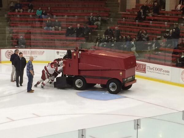 ECAC: Harvard Zamboni Breaks Down, Players Attempt To Push It Off Ice