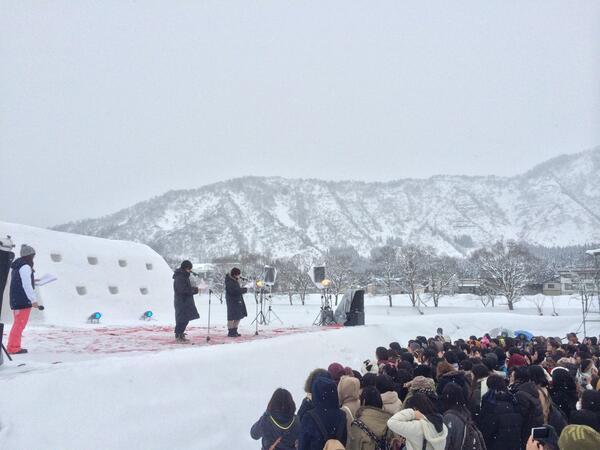 """"""": 南魚沼市雪まつり義風堂々ステージにて浪川大輔さんと佐藤拓也さんに熱いトークしてもらいましたぁー☆アニメのセリフもた"""