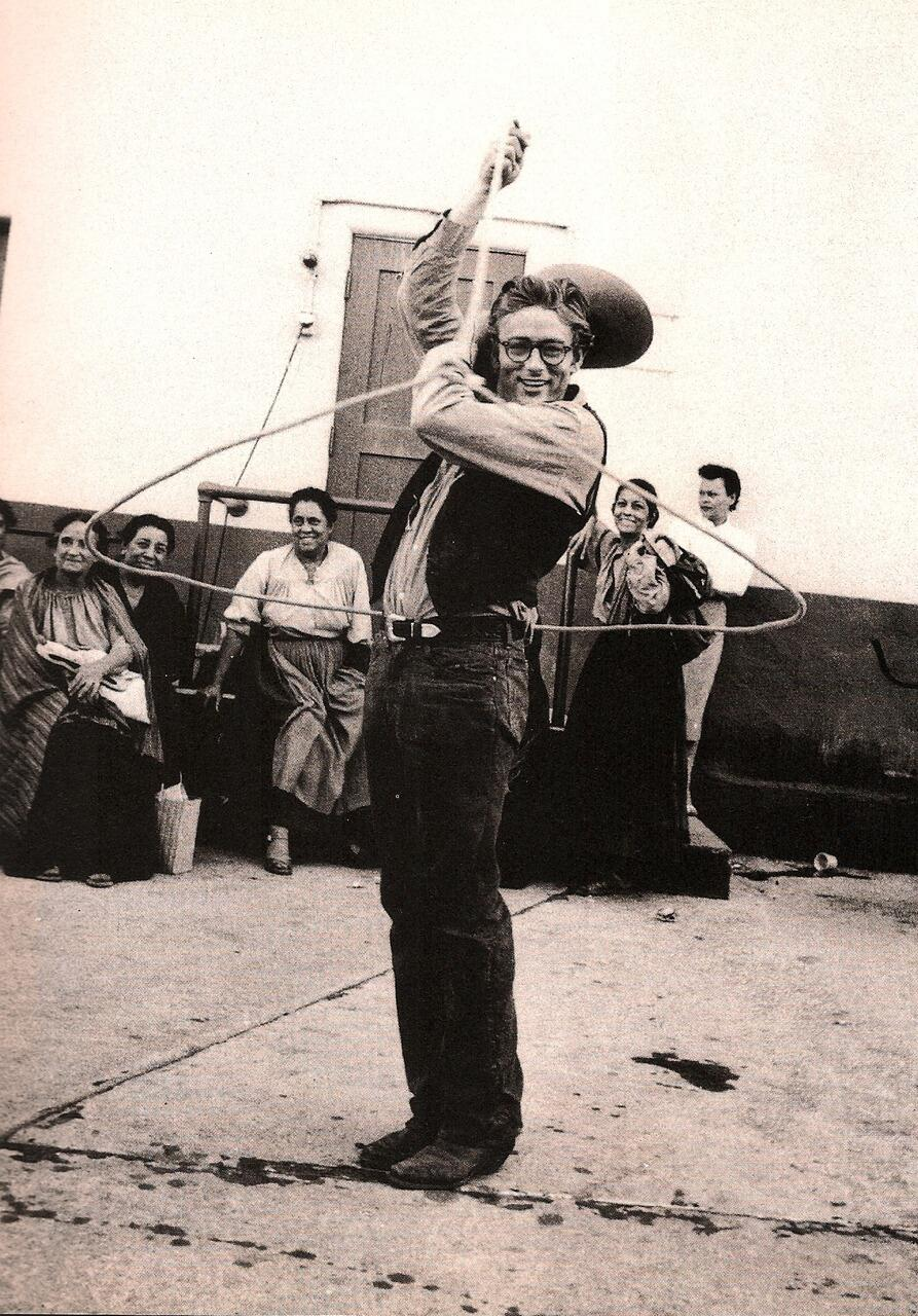James Dean on the set of Giant. http://t.co/TKFuoLRSuL