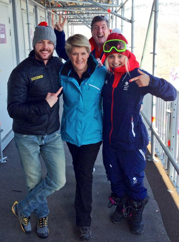 @clarebalding @aimee_fuller photo bombed by @TheRobinCousins ahead of Snowboard Slopestlye Final at #Sochi2014 http://t.co/6Ll3an0t29