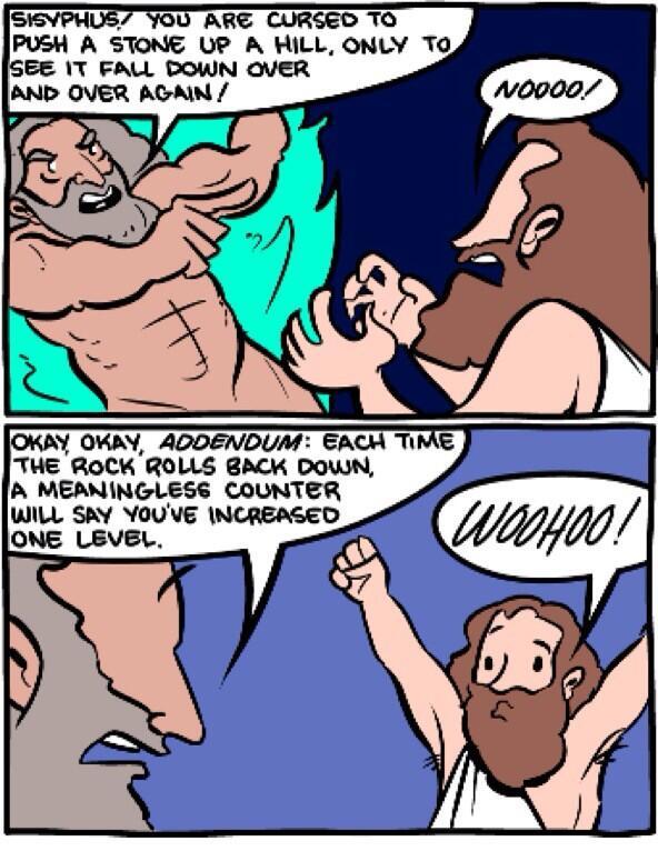 The Gamification of Sisyphus? (via @philosophybites) #philosophy http://t.co/ZQhhzwNuDI