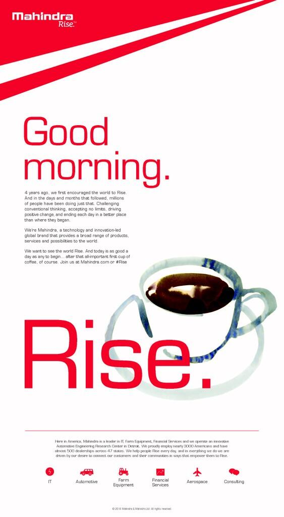 #Mahindra breaks latest #Rise ad campaign today in the @nytimes @WSJ Phenomenal @anandmahindra  @MahindraRise #FF http://t.co/H5ToTW6OGU