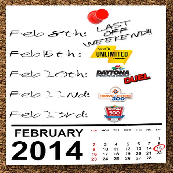 Retweet if you're ready for #NASCAR to be back on track! #Daytona #LastOffWeekend http://t.co/gxlHO9s3rI