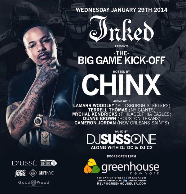 This Wednesday @ChinxMusic @DJSUSSONE @LaMarrWoodley @TerrellThomas24 @MychalKendricks @DuaneBrown76 @camjordan94 http://t.co/iEgZX6p3lH